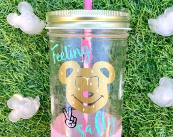 Feeling Salty~ Disney~ Mickey Pretzel~ Disneyland~ Disney World~ Tumbler~ Mason Jar~ Glitter~ Salty~ Peace