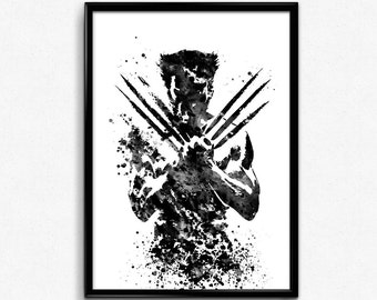 X-Men inspired, Wolverine, Superhero, Black and White Watercolor Print, Poster, Room Decor, gift, Print, Wall Art (407)