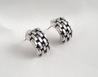 Handcrafted Sterling Silver Brick Earring Studs. Perfect gift for her. Small Post Earrings. Gift for her.