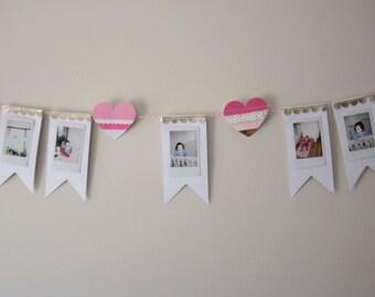 Photo Garland, Fujifilm Garland, Picture Garland, Polaroid Garland, Heart Garland, Heart Banner Garland, Girlie Garland, Chic garland