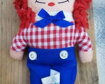 Vintage, 1970's Knickerbocker Raggedy Andy Doll, Vintage Raggedy Andy, Raggedy Ann abd Andy, Vintage Knickerbocker Doll,Vintage Raggedy Andy