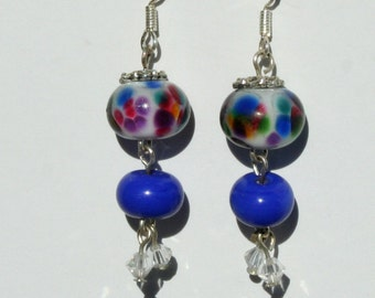 Rainbow lampwork bead earrings