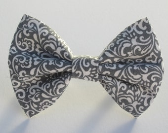 Grey Damask Bow Tie- All Sizes