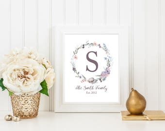 Family Name Print, Monogram Sign, Monogram Wreath, Established Date, Family Name Sign, Floral Wreath, Personalized Gift, Digital Download