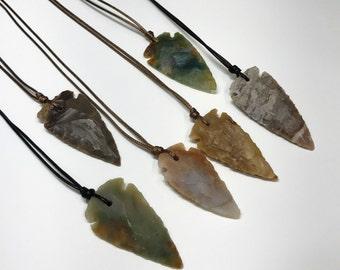 Mens Arrowhead Necklace for Men Arrowhead Stone Boyfriend Necklace Cord Necklace Mens Surfer Mens Jewelry Necklace Surfer Jewelry for Him