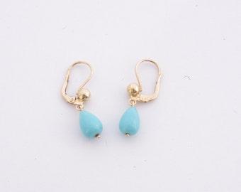 Vintage 14K Yellow Gold Turquoise Dangle Earrings