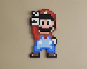 Super Mario Wooden 8bit Video Game Pixel Wall Art