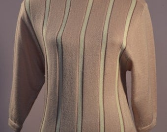 Slashed neck pullover by Sixth Sense of C&A pink and white 3/4 sleeved striped jumper with over sized ribbed hem and slight bat wing.
