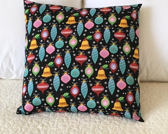 Ornaments Pillow Cover - Christmas Pillow - Swappillow Covers - Holiday Gift - Envelope Closure - Decorative Pillow Cover - 16x16 - Black
