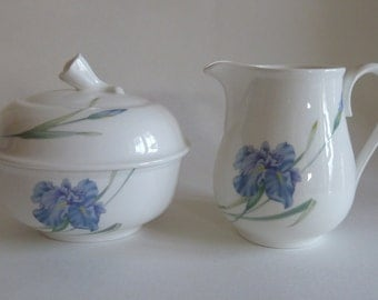 China Blue Floral cream and covered sugar bowl/Bone china/Christopher Stuart Blue Iris Y1519, floral/modern design/Southern Serving