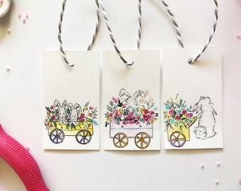 Bunny Rabbit Gift Tags, Handmade Original Gift Tags, Watercolor Gift Tags,Hand painted Tags, Original Watercolor,x3, Mothers Day, Birthday
