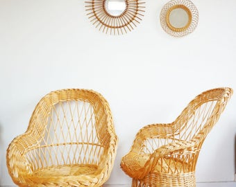 Pair of large vintage rattan chairs