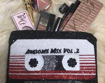 Marvel Guardians Of The Galaxy Glitter Inspired Awesome Mix Tape Personalised Make Up / Clutch Bag. Love Groot