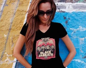 Black Sabbath Women T-shirt Black Sabbath V Neck  Tshirt Black Sabbath Women Shirt Black Sabbath Tee Rock T-shirt Model 7