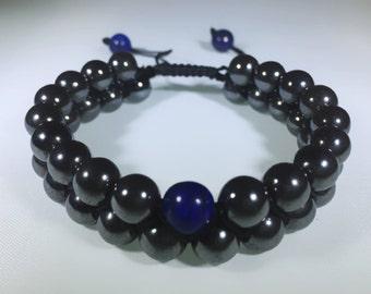 Hematite & Lapislazuli double strand Bracelets