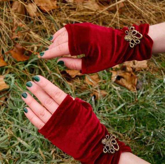 Curious Creatures - Lush Crimson / Red Velvet Hand Warmers - Handmade in USA