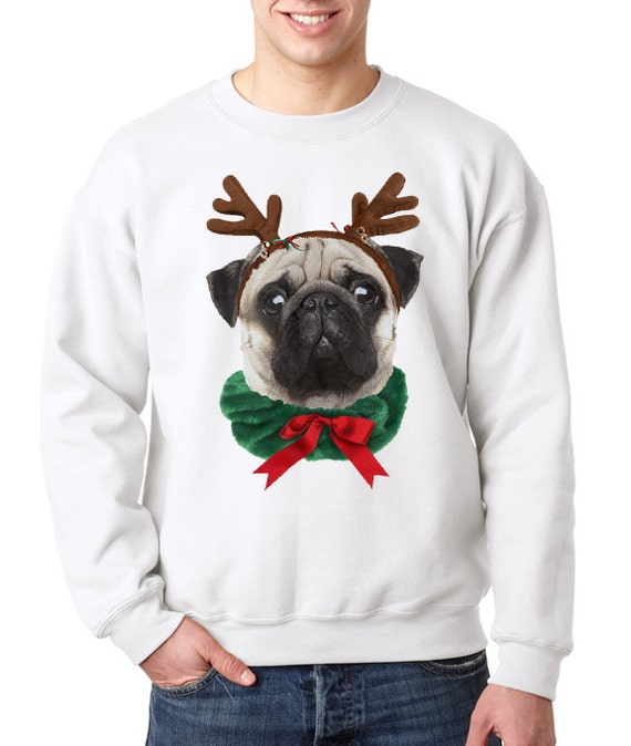 ugly pug sweaters pug dog reindeer ugly christmas sweater funny by 8059
