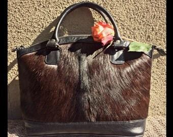 BLACK COWHIDE Handle bag/Black leather shoulder bag/Black fur purse/Tote Hobo cowhide handbag/Cow fur crossbody leather bag/Black Hobo bag