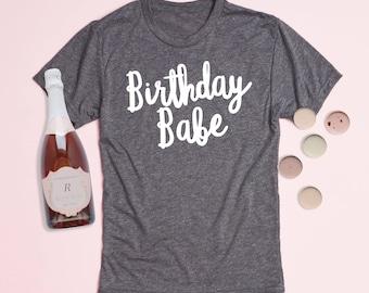 Free Shipping! Birthday Babe Crewneck Tee, Graphic Tee, Triblend, Birthday Shirt, T-Shirt, Workout Shirt, Gym Tee