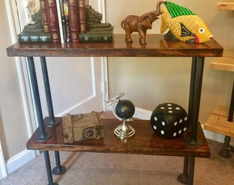 Pipe and Wood Rustic Table / Shelf (Two Shelves) (please contact for shipping quote)