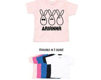 Baby easter shirt, personalized shirt, name shirt, bunny shirt, fancy bunnies, bowtie shirt, mustache shirt, monocle shirt, rabbit shirt