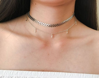 Pendulum Silver Dainty Drop Choker, Dainty Teardrop Satellite Beaded Chain Necklace, Layering Necklace, Boho Jewelry, Delicate Silver Choker