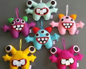 Mini felt hanging monsters, felt monsters, monster decorations-boy decor-boy gift