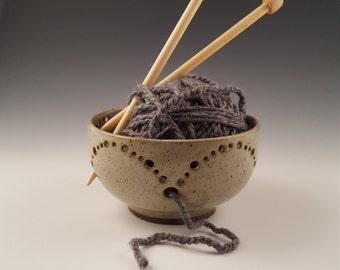 Ceramic bowl, ceramic yarn bowl, handmade pottery bowl, decorative bowl, knitting bowl, bowl with holes, candy dish