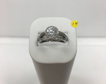 Cubic zirconia and metal alloy ring, wedding set