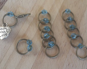 Stitch Marker Set Bronze/Aqua Blue