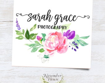 Calligraphy Logo, Flower Logo Set, Premade Logo Set, Feminine Logo, Photography Logo, Watercolor Logo Design, Branding Watermark