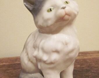 Very Sweet Made in Germany Erphila Sitting Gray Cat Porcelain Figurine