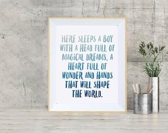 Here Sleeps Print - Boy, Girl, Nursery, Childs Print