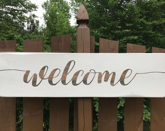 Wooden Welcome Sign, Entryway decor, French Country Decor, Home Welcome Sign, Welcome Sign, Farmhouse Style Sign, Wood Welcome Sign,