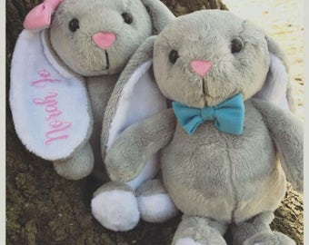 Personalized Adorable Floppy Eared Easter Bunny with Matching Basket