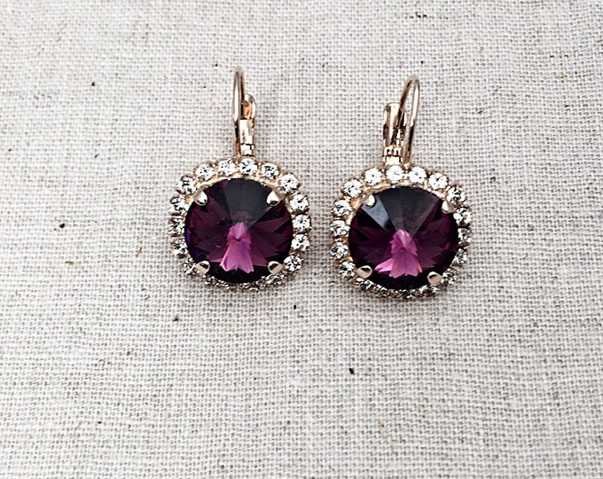 Swarovski® Crystal Dangle Drop Purple Amethyst Color lever back Earrings Set in Rose Gold. Nickel free jewelry!