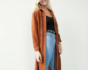 1990's Vintage Long Button Down Suede Cardigan
