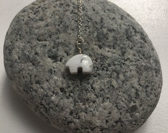 Howlite Gemstone Necklace - Polar Bear Charm - For calming, decreased stress, & relaxation
