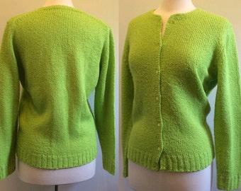 Vintage 60s Bright Chartreuse Green | Soft Knit Cardigan Sweater