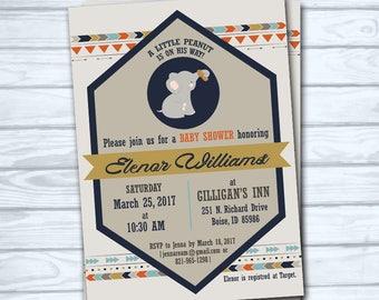 Printable Elephant Baby Shower Invitation Boy Card Customize Digital Handsome Peanut Boho Baseball Gray Animal Diamond