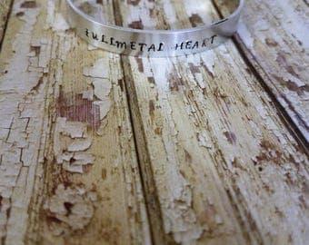 Fullmetal Heart Hand Stamped Cuff Bracelet Fullmetal Alchemist