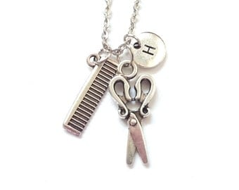 Hairdresser Necklace, Scissors Comb Necklace, Hair Stylist Pendant, Hairdresser Jewellery, Personalize Necklace, Initial Necklace (P18.19)
