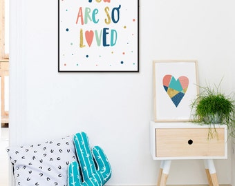 You Are So Loved Nursery Wall Art, Printable Kids Gifts, Baby Room Decor, Gold Mint Kids Room Art Print Modern Nursery Quote Playroom Poster