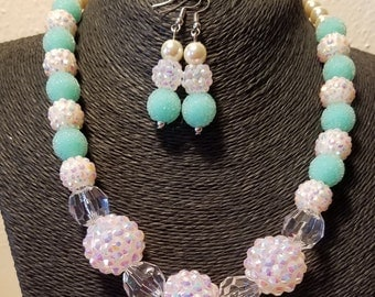 Fancy Teal and Irredescent White Beaded Necklace set with matching Earrings and Bracelet