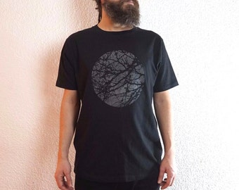 graphic tee - tree t shirt - minimalist black t shirt - screen print t shirt