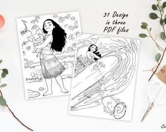 Moana Coloring Pages Birthday Colorings Games Party