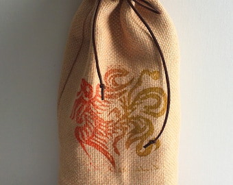 Block printed linen wine bag