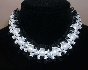 Black and white lace choker/necklace and white pearls. Wedding, prom, renaissance, victorian, lolita, gothic, harajuku, rock, emo