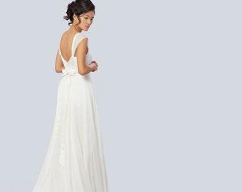 Silk wedding dress, dress chiffon silk wedding dress, married Bohemian chic silk, boho dress.