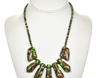 Green Turquoise Bronze Infused Navajo Necklace Fringe Style